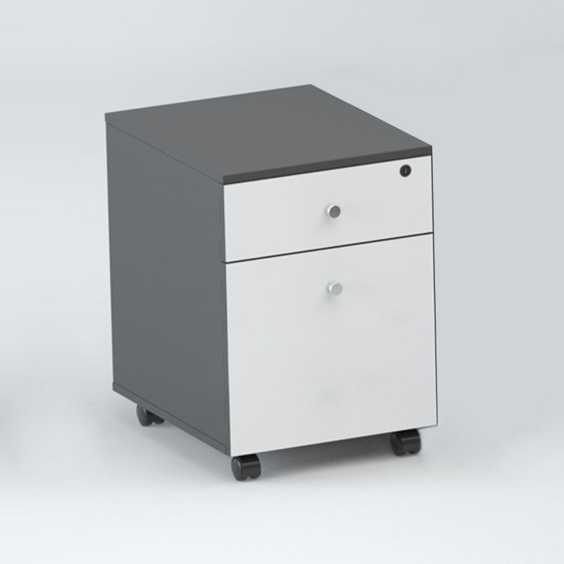 Mobile Office File Cabinet in Oak and White 2 Drawer (GT12)