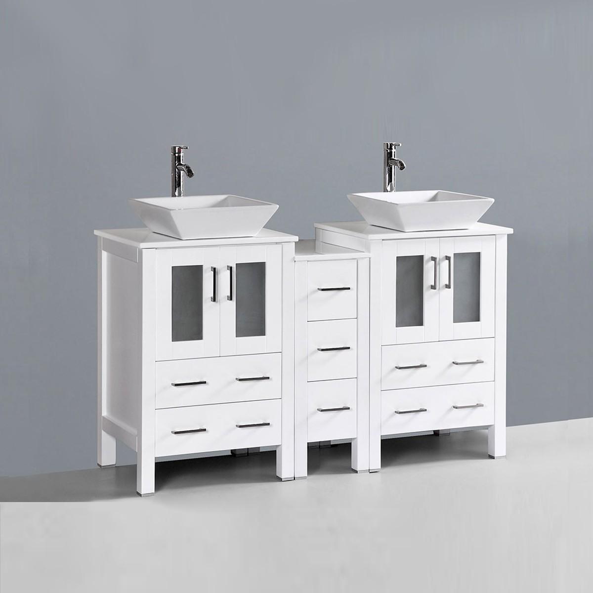 freestanding bathroom vanity. 60 In. Freestanding Bathroom Vanity (DK-T9161-60W-V) O