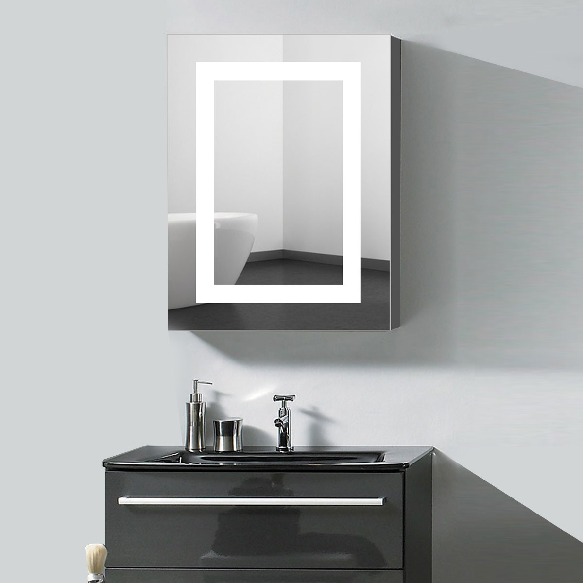 24 x 32  In. Vertical LED Mirror Cabinet with Infrared Sensor (NS168-2432-G)