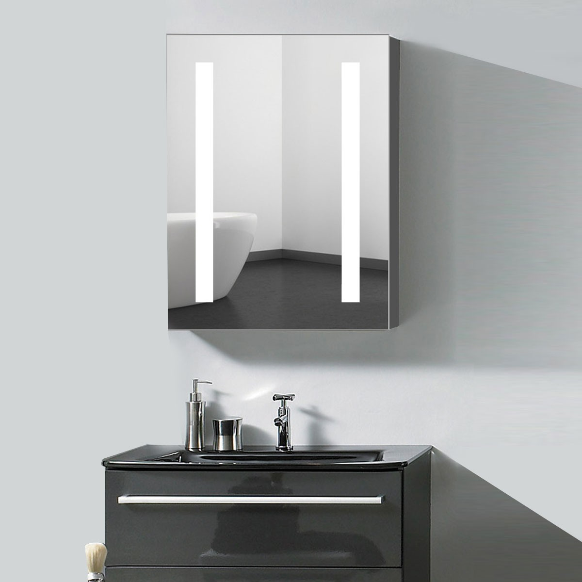 24 x 32  In. Vertical LED Mirror Cabinet with Infrared Sensor (DK-OD-NS36-G)