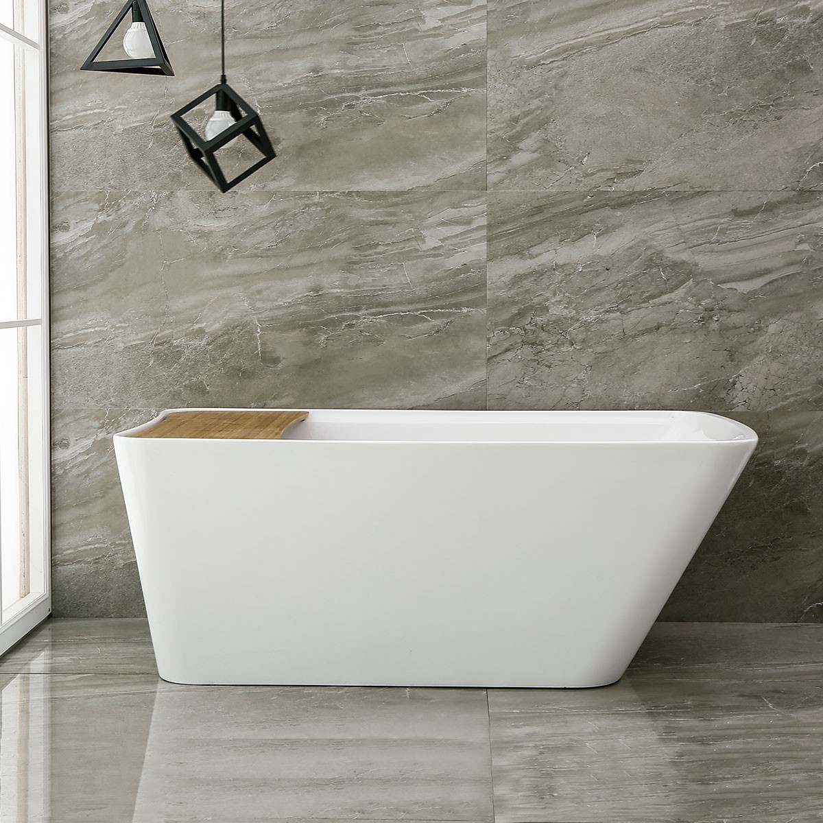 59 In Freestanding Bathtub - Acrylic Pure White (DK-PW-86578)