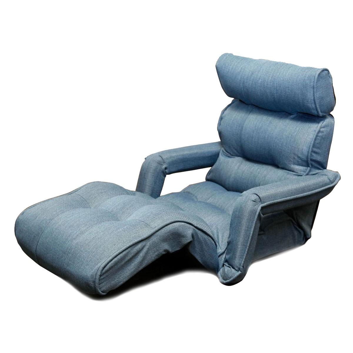 Light Blue Soft Linen Fabric Folding Floor Sofa Recliner (K16RS01 LB)