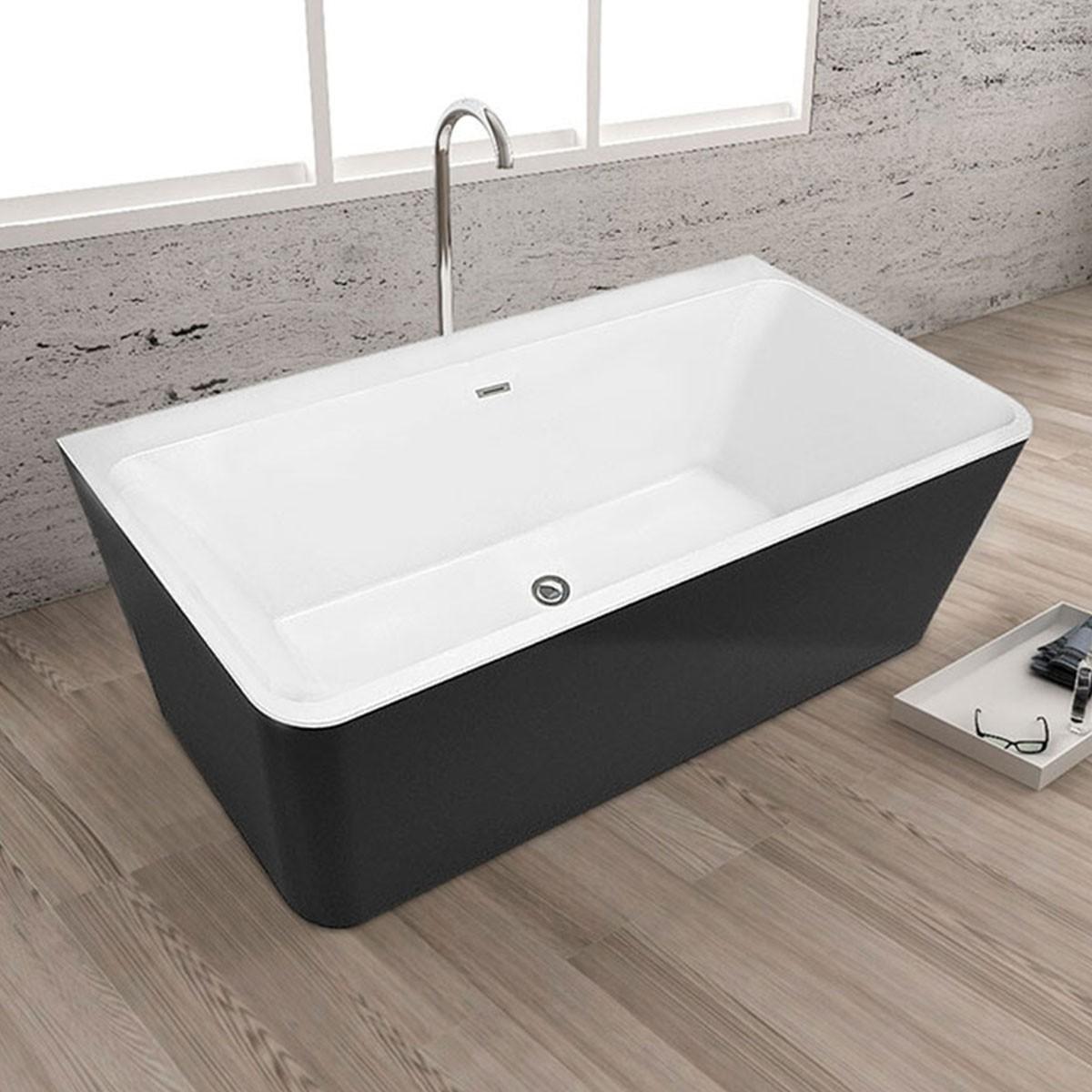 67 In Freestanding Bathtub - Acrylic Black (DK-SLD-YG872B)