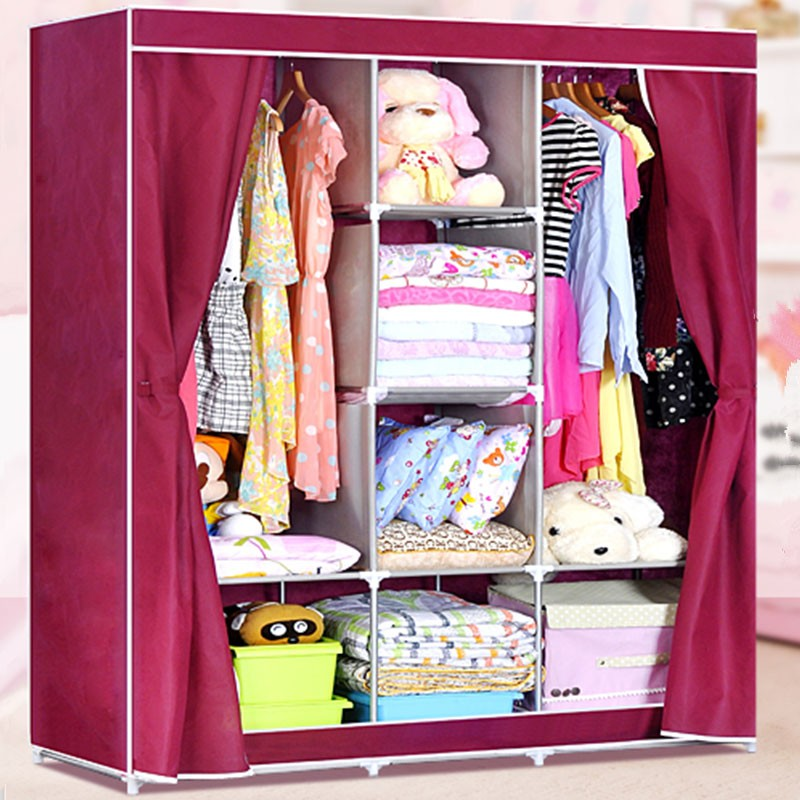 Non-woven Fabric Portable Wardrobe Closet Storage Organizer with Shelving (DK-WF1611-2)
