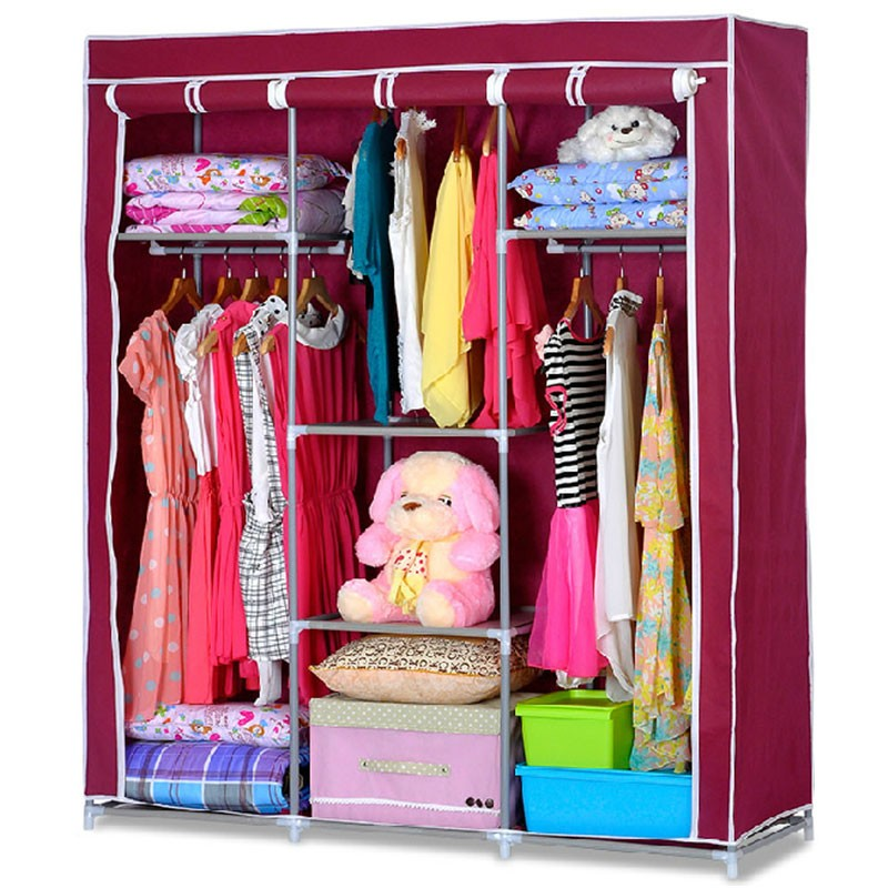 Non-woven Fabric Portable Wardrobe Closet Storage Organizer with Shelving (DK-WF1613-2)
