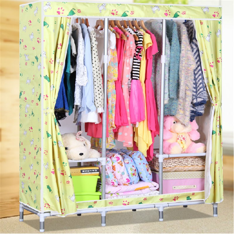 Oxford Fabric Portable Wardrobe Closet Storage Organizer with Shelving (DK-WF2502D-3)