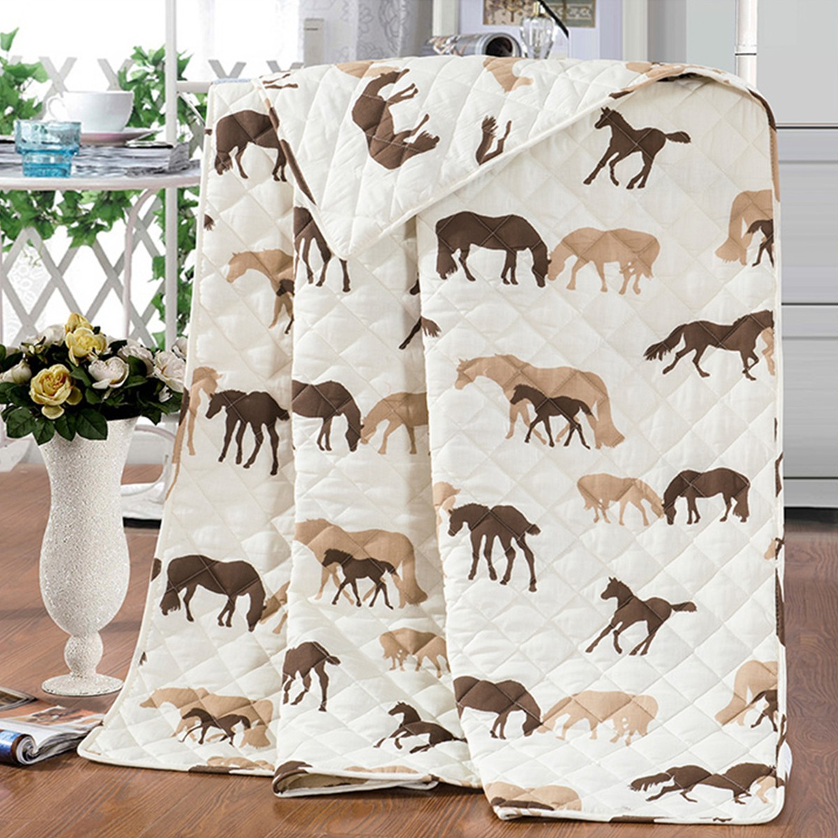 3-Piece Quilt Set, Brown Cartoon Horse, Full (DK-WX021)