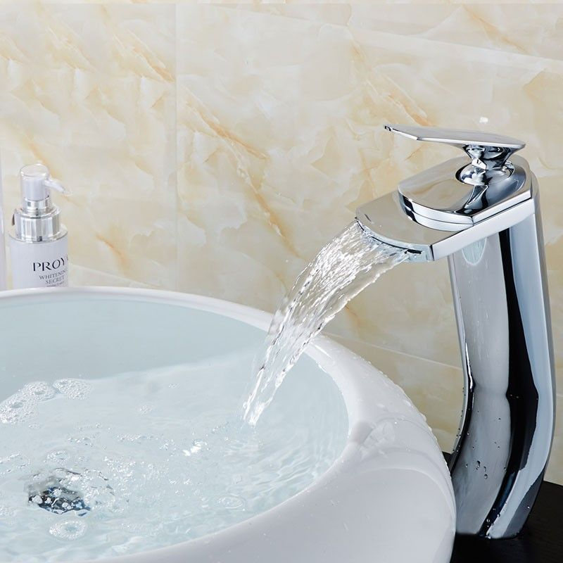 Basin&Sink Waterfall Faucet - Brass with Chrome Finish (81H18-CHR)