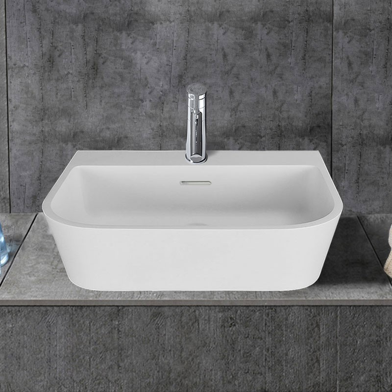 White Rectangular Artificial Stone Above Counter Bathroom Vessel Sink (DK-HB9031)