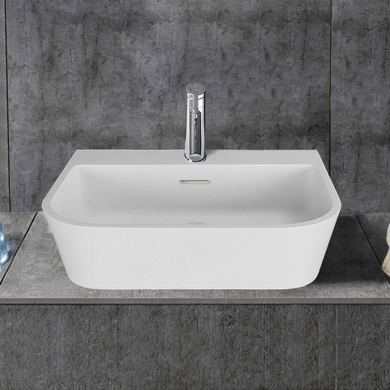 White Rectangular Artificial Stone Above Counter Bathroom Vessel Sink Dk Hb9031