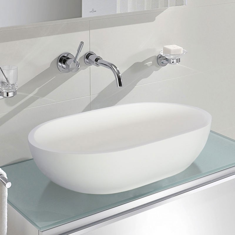 White Artificial Stone Above Counter Vessel Sink (DK-HB9033)