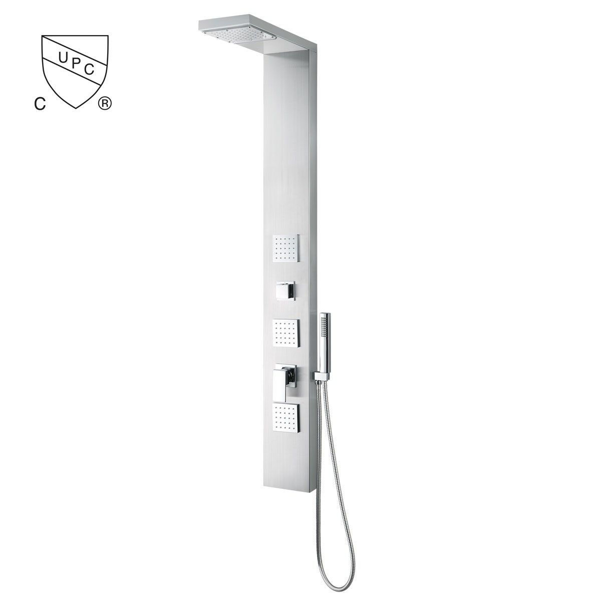 Thermostatic Mixing Valve Shower Panel System - Brushed Stainless Steel (JX-9851)