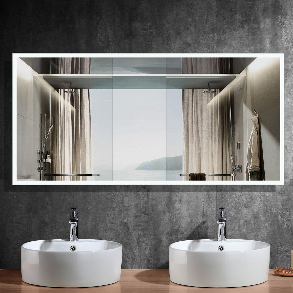 84 x 40 In Horizontal LED Bathroom Mirror, Touch Button (DK-OD-N031-A)