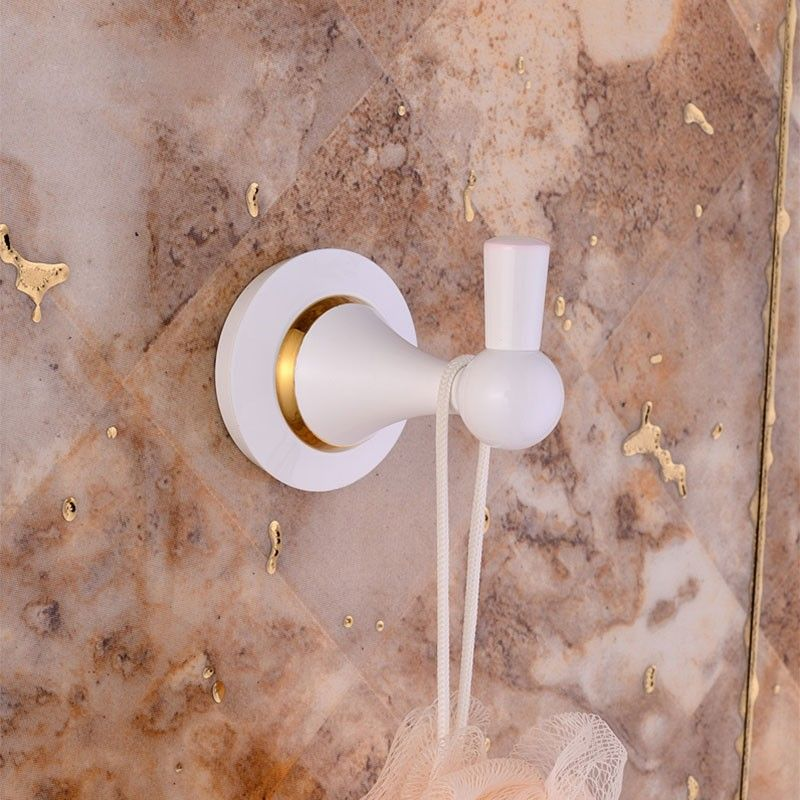 Single Robe Hook - White Painting Brass (80353D)