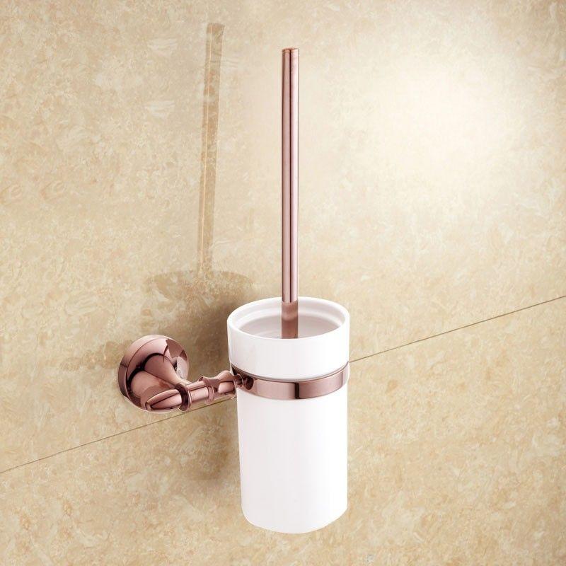 Wall Mount Toilet Brush Holder - Rose Gold Brass (90394E)