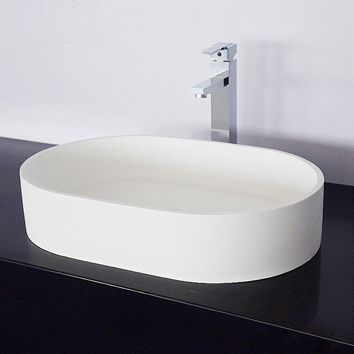 White Artificial Stone Above Counter Bathroom Vessel Sink (DK-HB9043)