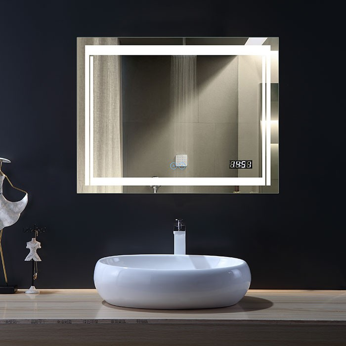 36 x 28 In Horizontal LED Bathroom Mirror with Anti-fog and Clock Function (DK-OD-CK150-C)
