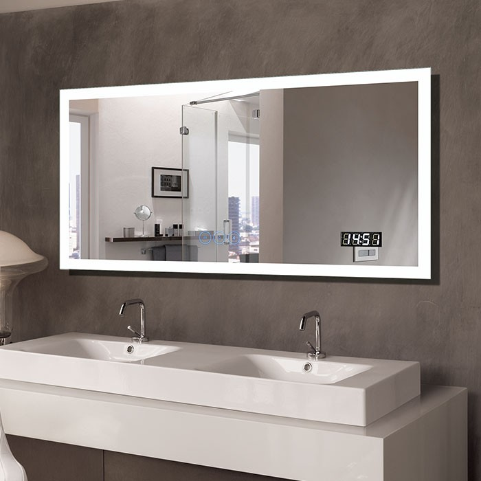55 X 28 In Horizontal Clock Led Bathroom Mirror With Anti Fog And Bluetooth Function