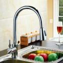 Brushed Nickel Finished Brass Kitchen Faucet with Pull Out Spray Head (82H11-BN)