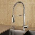 Brushed Nickel Finished Brass Kitchen Faucet with Pull Out Spray Head (82H10-BN)