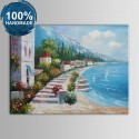 100% Hand Painted Abstract Mediterranean Landscape Oil Painting (DK-JX-YH039)