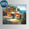 100% Hand Painted Abstract Mediterranean Landscape Oil Painting (DK-JX-YH035)