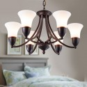 6-Light Black Wrought Iron Chandelier with Glass Shades (DK-8037-6)