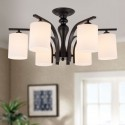 6-Light Black Wrought Iron Chandelier with Glass Shades (DK-5302-6)