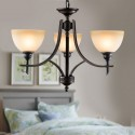 3-Light Black Wrought Iron Chandelier with Glass Shades (DK-8034-3)