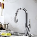 Chrome Finished Brass Kitchen Faucet - Pull Out Spray Head (82H24-CHR-A)