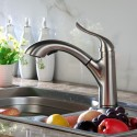 Brushed Nickel Finished Brass Kitchen Faucet - Pull Out Spray Head (82H22-BN-N)