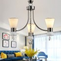3-Light Black Iron Modern Chandelier with Glass Shades (HKC31333A-3)