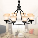 8-Light Black Wrought Iron Chandelier with Glass Shades (DK-2037-8)