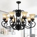 8-Light Black Wrought Iron Chandelier with Glass Shades (DK-6318-8S)