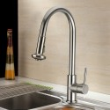 Decoraport Modern Style Pull Out Kitchen Faucet - Brass with Chrome Finish (D004CH)