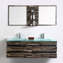 55 In. Wall Mounted Bathroom Vanity Set with Double Glass Sink and Mirror (VS-8861)