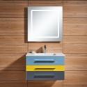 31 In. Wall-Mount Bathroom Vanity Set, Single Sink and LED Mirror (DK-668800)