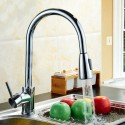 Modern Style Chrome Finished Brass Kitchen Faucet - Pull Out Spray Head (82H11-CHR)