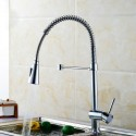 Modern Style Chrome Finished Brass Spring Kitchen Faucet - Pull Out Spray Head (82H10-CHR)