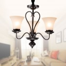 3-Light Black Wrought Iron Chandelier with Glass Shades (DK-2039-3)