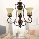 3-Light Black Wrought Iron Chandelier with Glass Shades (DK-6318-3S)