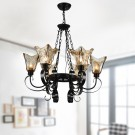 6-Light Black Wrought Iron Chandelier with Glass Shades (DK-8038-6)