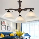 3-Light Brown Iron Modern Chandelier with Glass Shades (HKP31288-3)