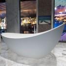 74 In Double Slipper Synthetic Stone Freestanding Bathtub - Matte White (DK-HA8621)