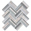12.4 in. x 13.8 in. Glass Stone Blend Strip Mosaic Tile in Multi- 8mm Thickness (DK-8NF0606-004)