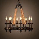 8-Light Iron Built Matte Black Vintage Rope Chandelier (DK-8121-D8)