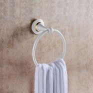 White Painting Brass Towel Ring (80360D)