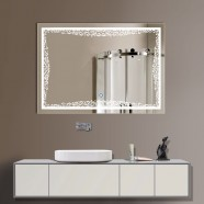 32 x 24 In Horizontal LED Illuminated Bathroom Silvered Mirror, Touch Button (DK-OD-N011)