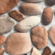 3D Rustic Cobblestone PVC Room Wallpaper, 57 sq.ft/Roll (DK-SE457001)