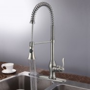 Brushed Nickel Finished Brass Kitchen Faucet with Pull Out Spray Head (82H05-BN)